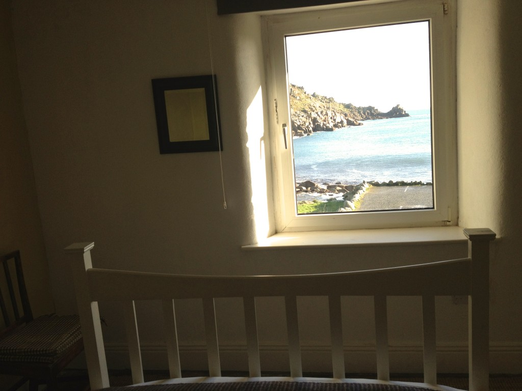 One of the double bedrooms at Lamorna Cove House.