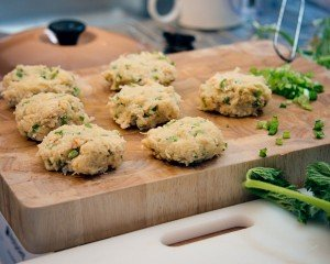 Crab cakes in the making...