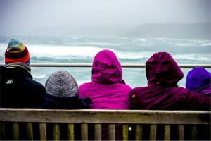 The family making the most of the British weather. Sennen.