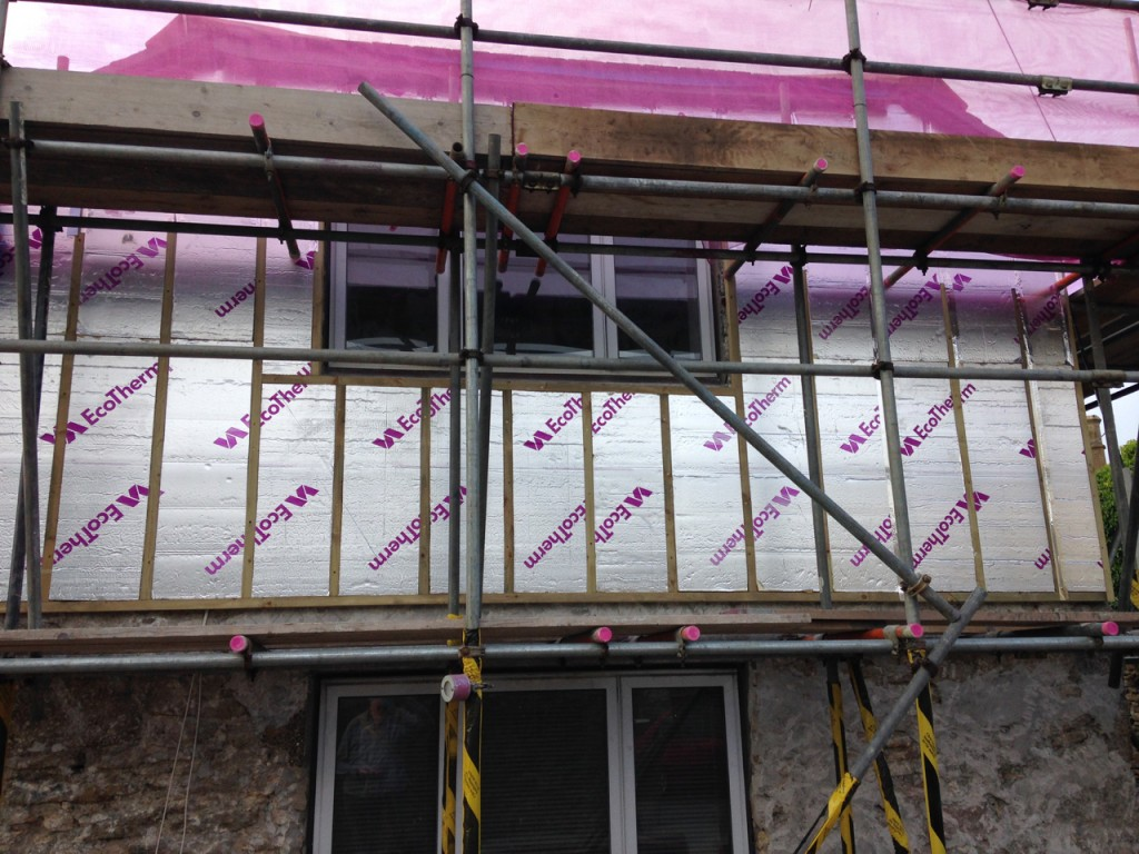 Rigid insulation, a breather wrap goes over this.