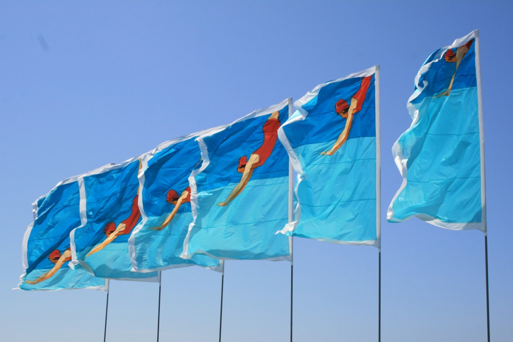 Lucy Birbeck's flags for the lido.