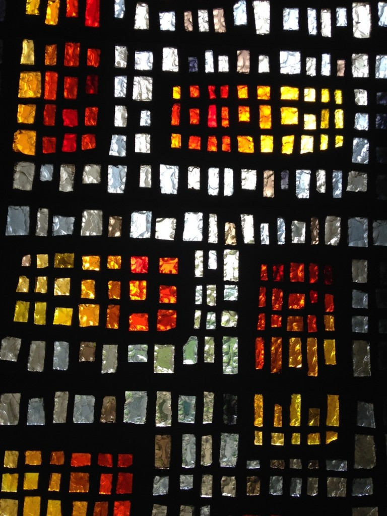 Modern stained glass in the Abbey's chapel.