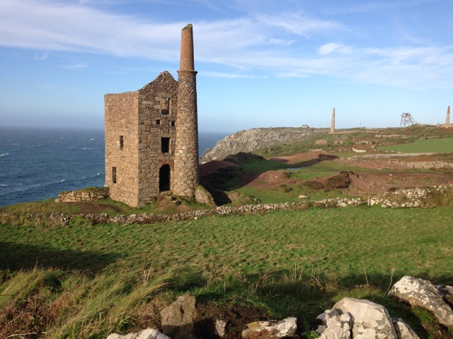 Wheal Owls with The Crown Mines in the background, and Geevor headgear.