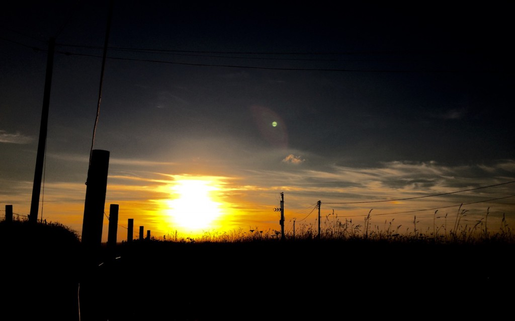 Sunset on the lane at Tregiffian.