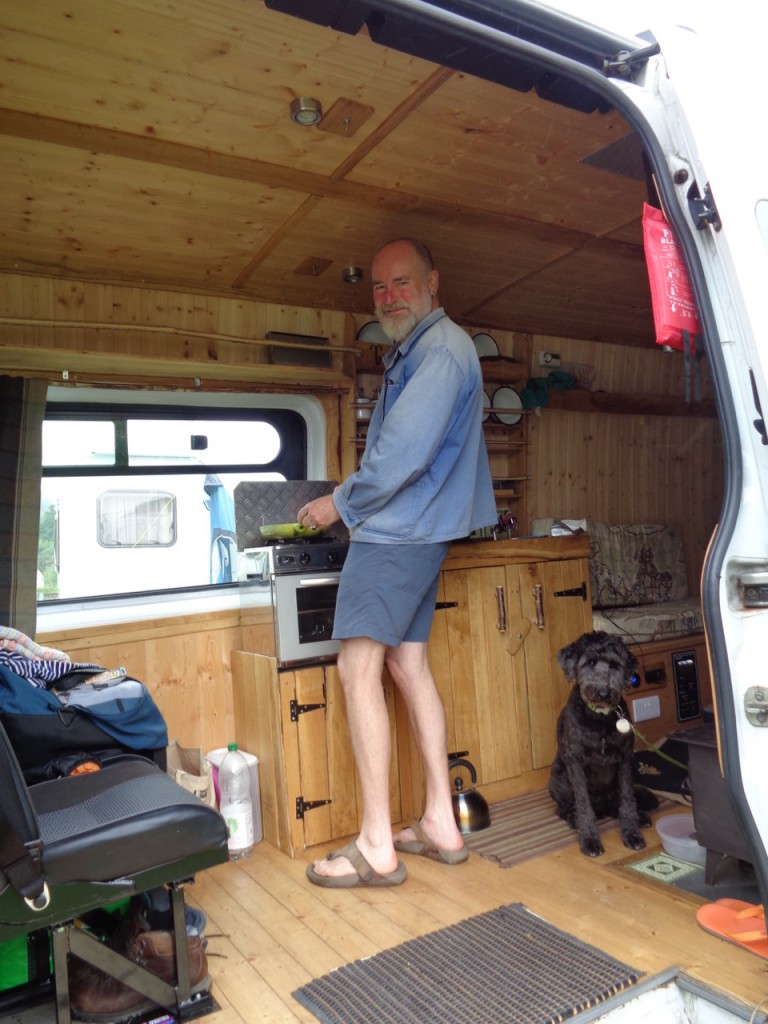 Breakfast prepared in our cottage on wheels.