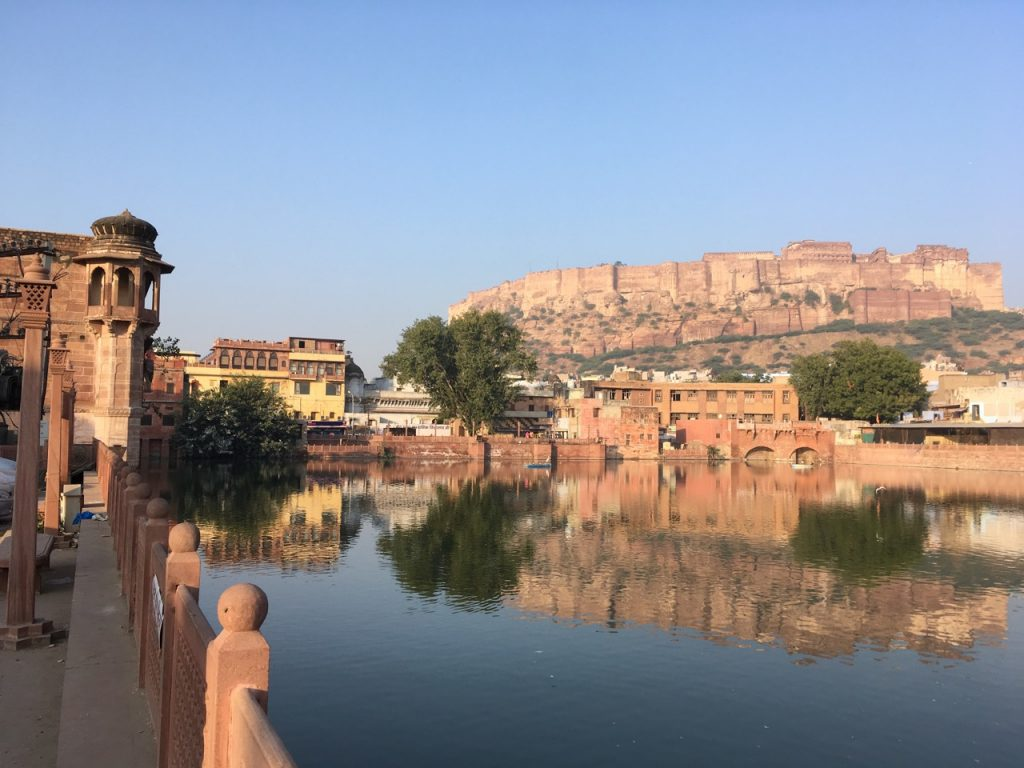 The Pal Haveli, back left in yellow.